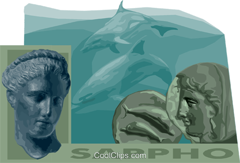 Sappho Greek poet Royalty Free Vector Clip Art illustration vc011171