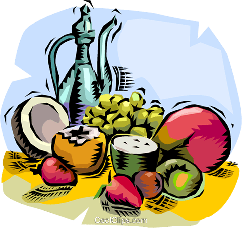 Assorted tropical fruit with wine Royalty Free Vector Clip Art illustration vc011176