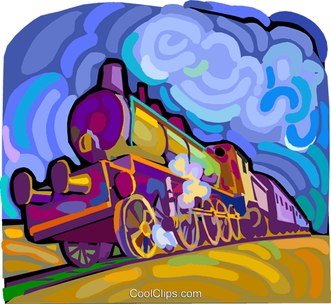 Steam locomotive Royalty Free Vector Clip Art illustration vc011187
