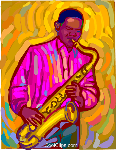 saxophone player Royalty Free Vector Clip Art illustration vc011191