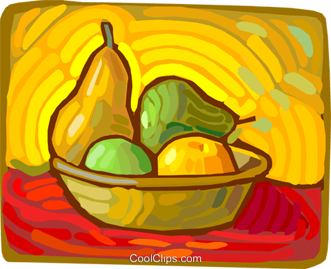 painting of a fruit basket Royalty Free Vector Clip Art illustration vc011200