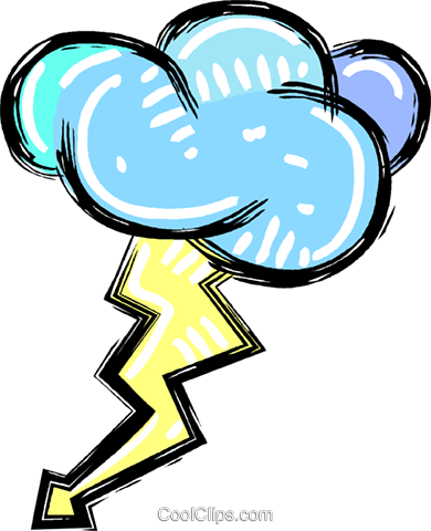 storm cloud with lightning bolt Royalty Free Vector Clip Art illustration vc011208