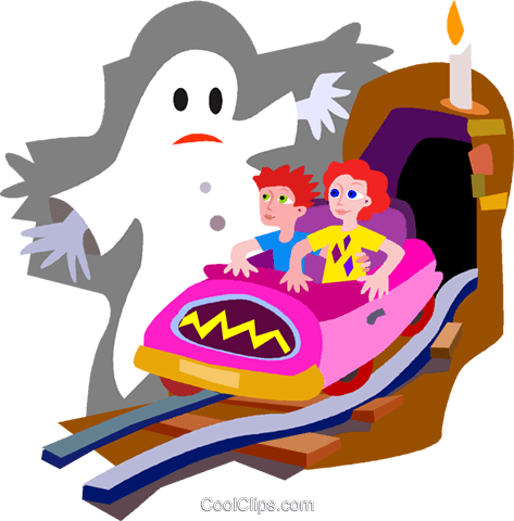 haunted house ride Royalty Free Vector Clip Art illustration vc011264