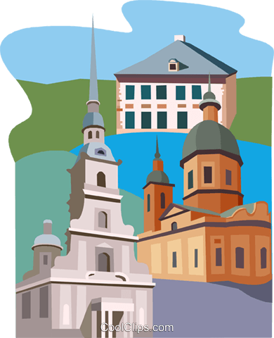 European buildings Royalty Free Vector Clip Art illustration vc011272