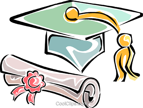 graduation cap with diploma Royalty Free Vector Clip Art illustration vc011275