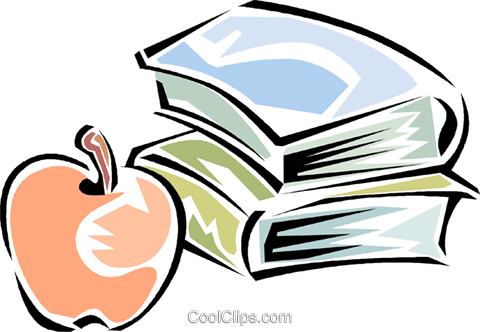books with a apple Royalty Free Vector Clip Art illustration vc011283