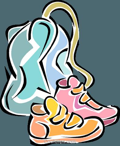 school bag clipart. running shoes, school bag royalty free vector clip art illustration clipart