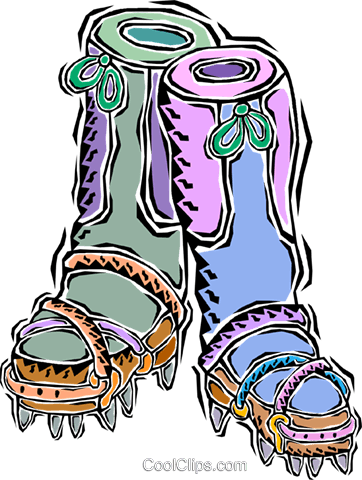 mountain climbing boots Royalty Free Vector Clip Art illustration vc011293