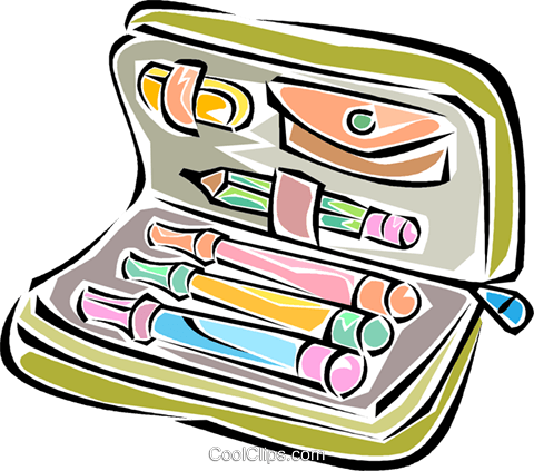 pencil case Royalty Free Vector Clip Art illustration vc011302