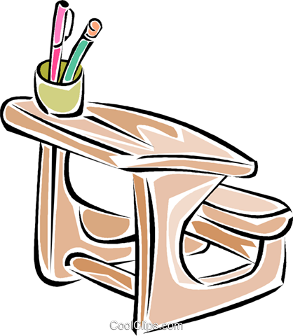students desk Royalty Free Vector Clip Art illustration vc011313