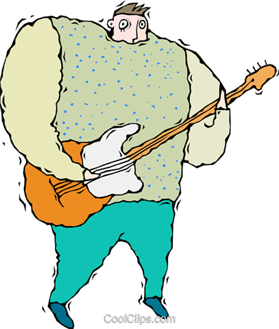 person playing guitar Royalty Free Vector Clip Art illustration vc011333