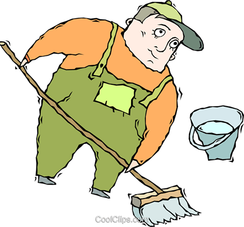 janitor cleaning floors Royalty Free Vector Clip Art illustration vc011344