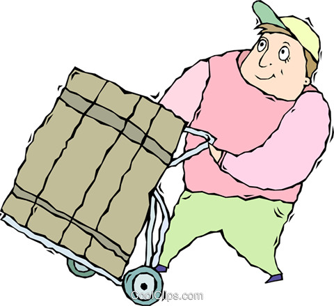 delivery person Royalty Free Vector Clip Art illustration vc011350