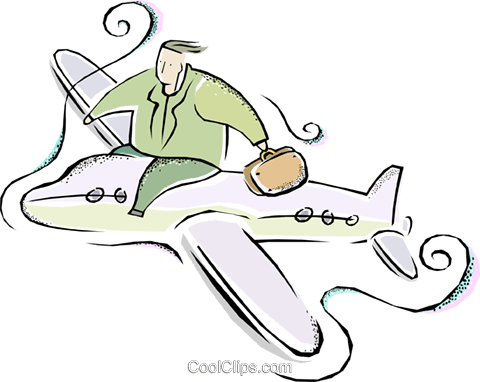 airplane, business travel Royalty Free Vector Clip Art illustration vc011352