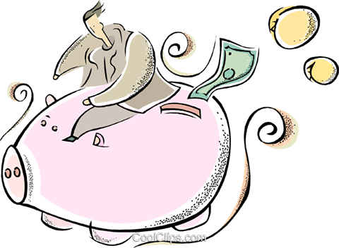 piggy bank Royalty Free Vector Clip Art illustration vc011362
