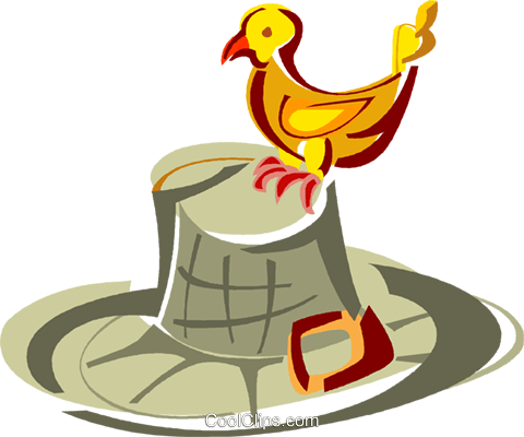 Bird standing on a hat Royalty Free Vector Clip Art illustration vc011401