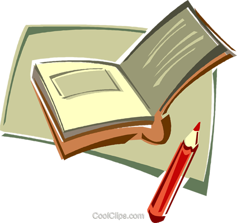 book, note book with pencil Royalty Free Vector Clip Art illustration vc011420