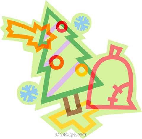 Christmas tree with bell Royalty Free Vector Clip Art illustration vc011429