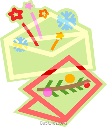 greeting card and envelope Royalty Free Vector Clip Art illustration vc011435