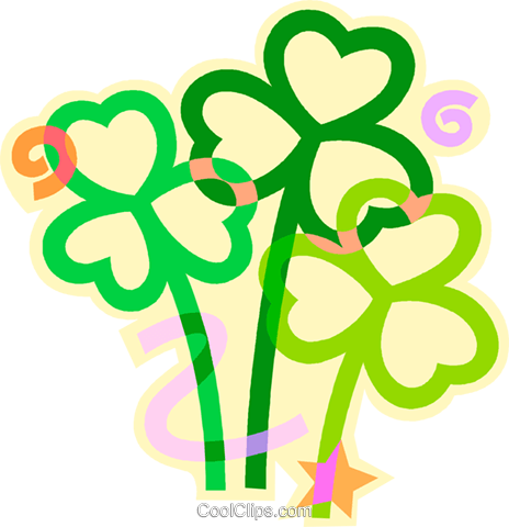 St. Patrick's Day shamrocks Royalty Free Vector Clip Art illustration vc011441