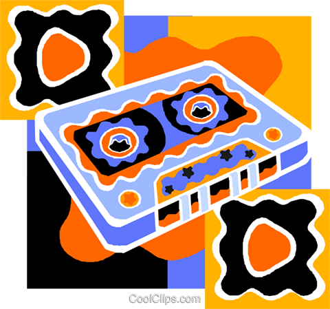audio cassette tape Royalty Free Vector Clip Art illustration vc011512
