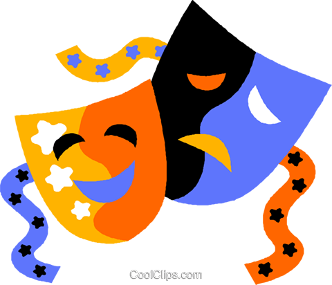 comedy & drama masks Royalty Free Vector Clip Art illustration vc011554