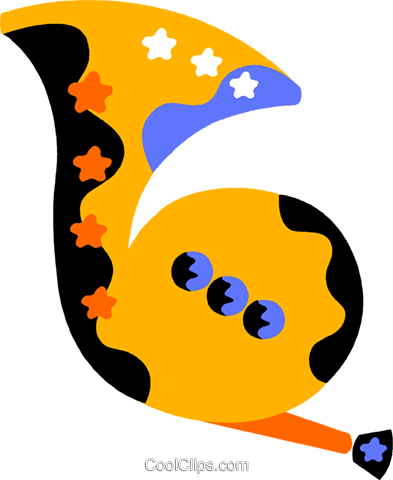 French horn Royalty Free Vector Clip Art illustration vc011563