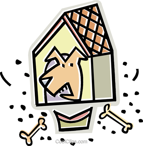 dog house with dog Royalty Free Vector Clip Art illustration vc011609