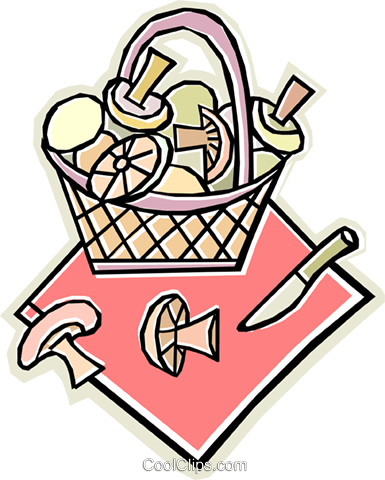 basket of mushrooms Royalty Free Vector Clip Art illustration vc011642