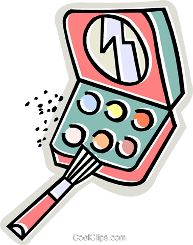 make up kit, compact Royalty Free Vector Clip Art illustration vc011643