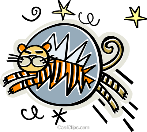 tiger jumping through hoop Royalty Free Vector Clip Art illustration vc011648