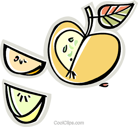apple wedges Royalty Free Vector Clip Art illustration vc011661