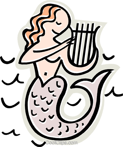 Mermaid playing harp Royalty Free Vector Clip Art illustration vc011666
