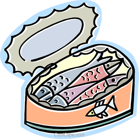 can of sardines Royalty Free Vector Clip Art illustration vc011673