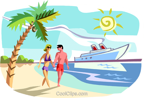 Tropical island vacation cruise ship Royalty Free Vector Clip Art illustration vc011691