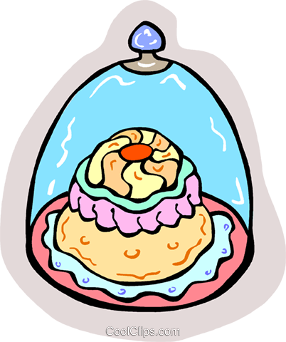 Cake under glass Royalty Free Vector Clip Art illustration vc011721