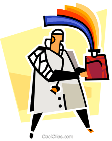 doctor with plasma bottle, the gift of li Royalty Free Vector Clip Art illustration vc011753