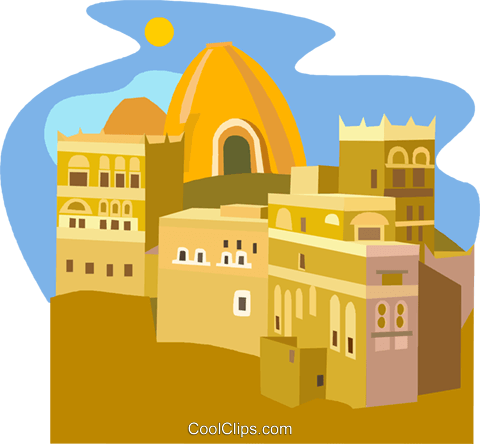 Clay house, Yemen - Rawdah Royalty Free Vector Clip Art illustration vc011758