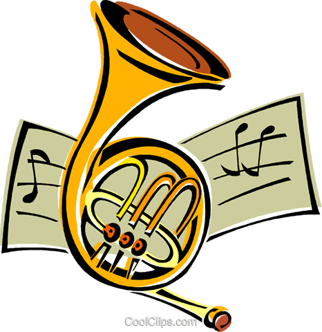 French horn Royalty Free Vector Clip Art illustration vc011773
