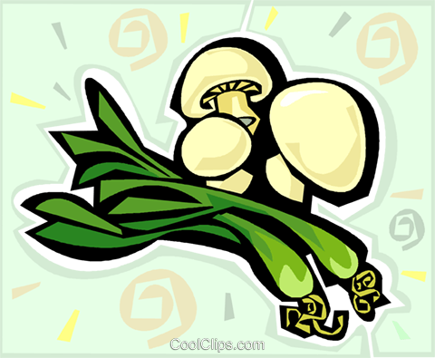 onions mushrooms Royalty Free Vector Clip Art illustration vc011789
