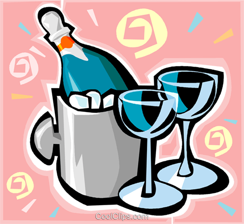 Champagne on ice with glasses Royalty Free Vector Clip Art illustration vc011790