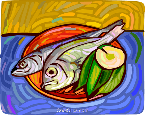 Fish on a plate with lemon Royalty Free Vector Clip Art illustration vc011793