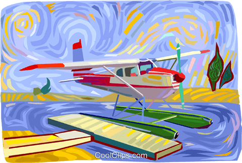 Float plane Royalty Free Vector Clip Art illustration vc011796