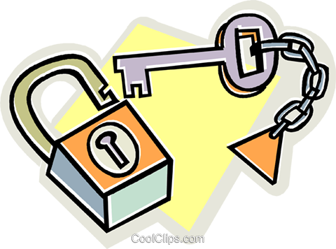 lock and key Royalty Free Vector Clip Art illustration vc011799