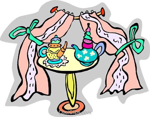 tea time, table with tea pot at window Royalty Free Vector Clip Art illustration vc011841