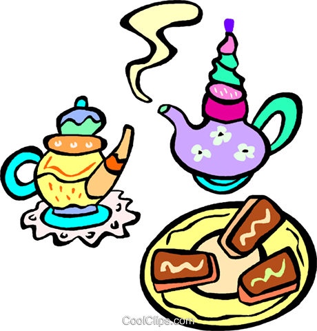 tea time with biscuits Royalty Free Vector Clip Art illustration vc011846