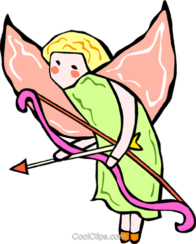 angel with bow and arrow Royalty Free Vector Clip Art illustration vc011848