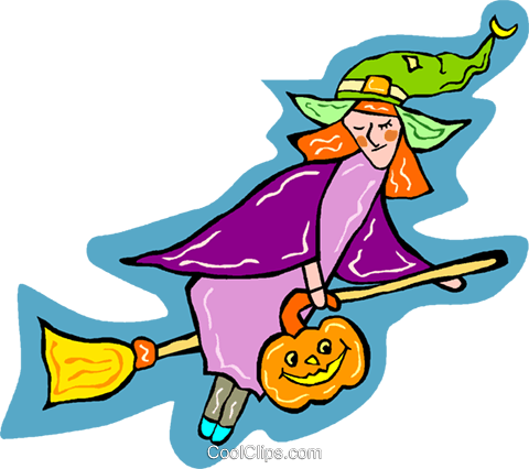 witch on a broomstick Royalty Free Vector Clip Art illustration vc011849