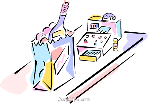 groceries and cash register Royalty Free Vector Clip Art illustration vc011861