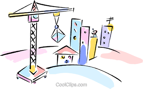 building crane with buildings Royalty Free Vector Clip Art illustration vc011868